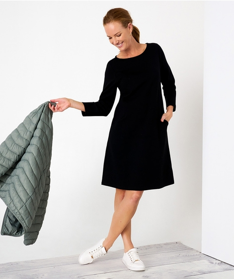 K/L 3/4 Slv Black Knit Dress