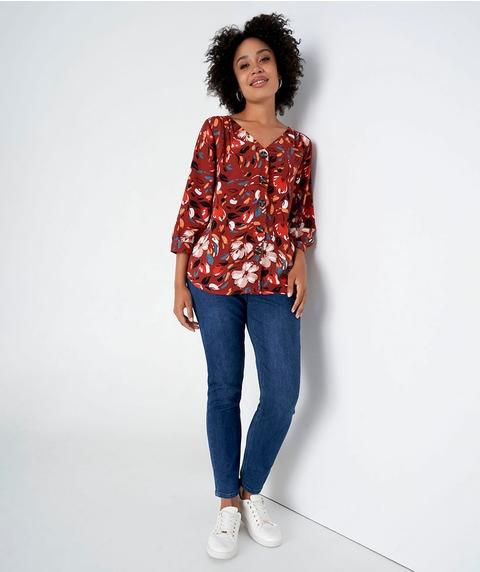 3/4 Slv Print Textured Shirt w/ Buttons