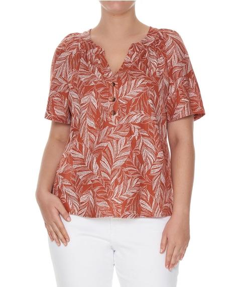 Linen Blend Print Shirt