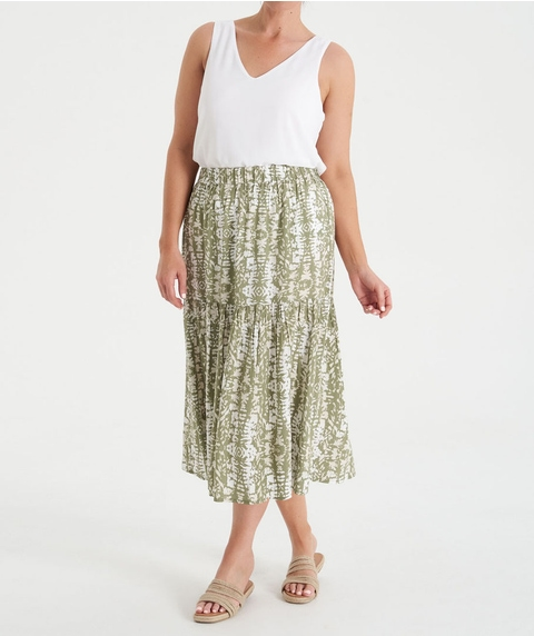 Midi Print Skirt