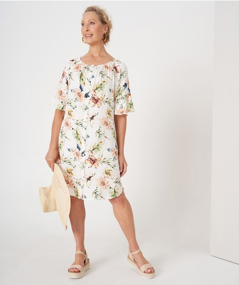 Print Peasant Dress