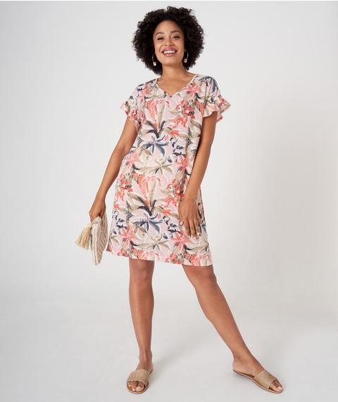 Flutter Sleeve Print Dress