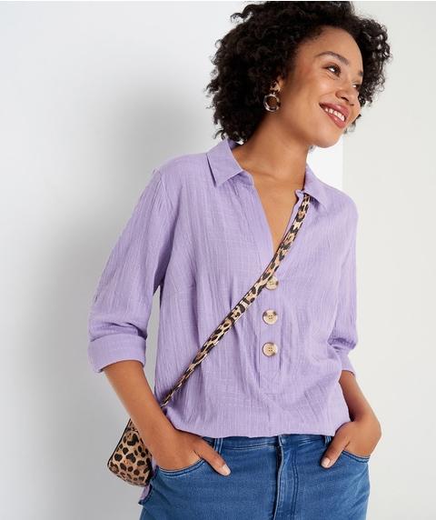 Roll Sleeve Cotton Shirt