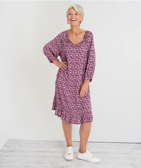 Crinkle Print Dress