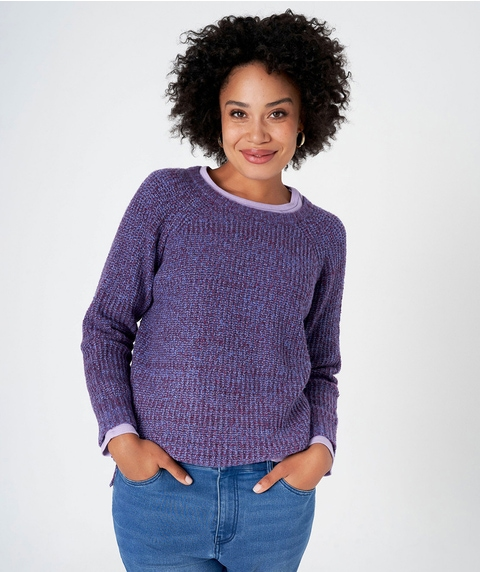 L/S TWISTED YARN CREW NECK PULLOVER
