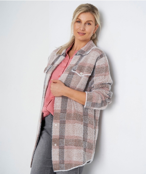 L/S KNITTED CHECK SHACKET