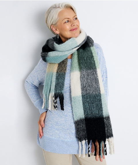 Brushed Check Scarf w/ Tassels
