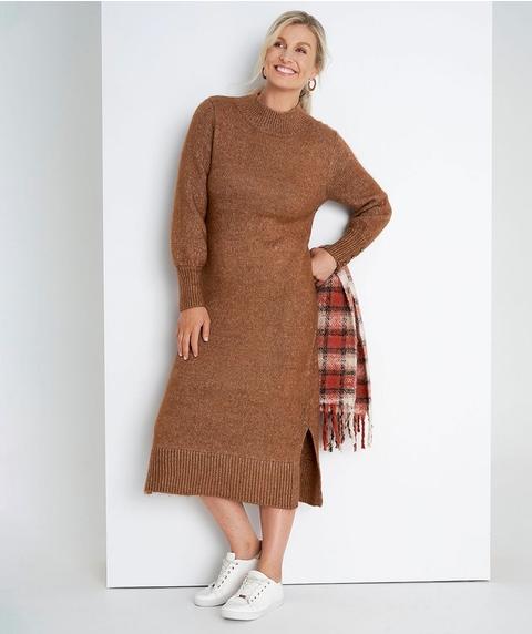 Midi Long Slv Sweater Dress