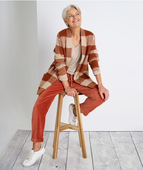 L/S CHECK KNITTED CARDIGAN