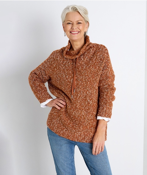 L/S FUNNEL NECK TWISTED YARN PULLOVER