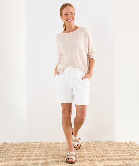 3/4 SLV BOAT NECK BATWING TEXTURE TEE