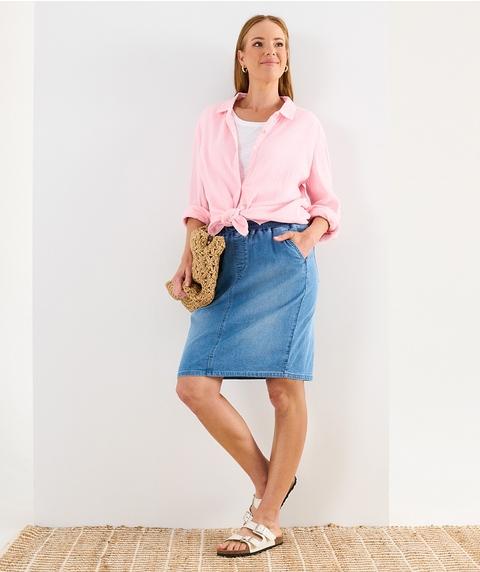 K/L Knitted Denim Skirt