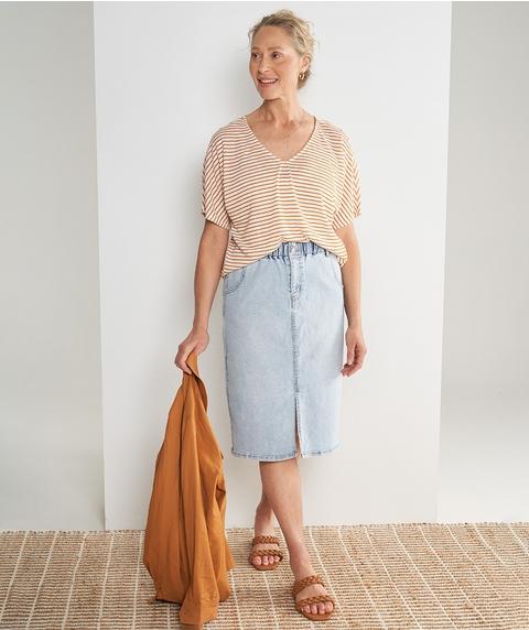Midi Paperbag Waist Denim Skirt