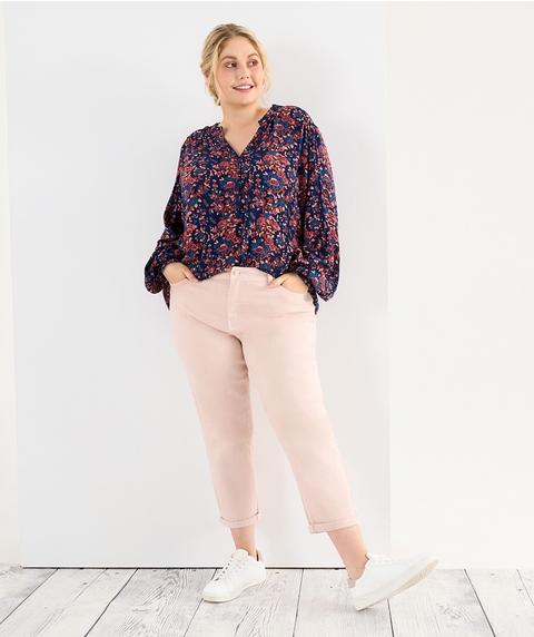 A/L Rolled Hem Relaxed Coloured Premium Denim Jean