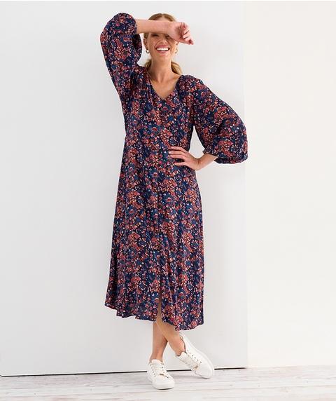 Long Slv Midi Nautical Floral Crinkle Dress