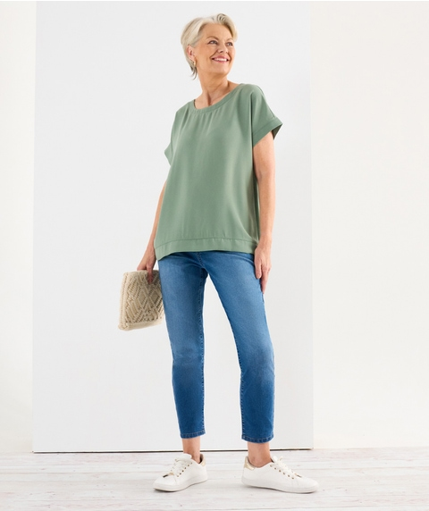 BOAT NECK WOVEN FRONT TOP