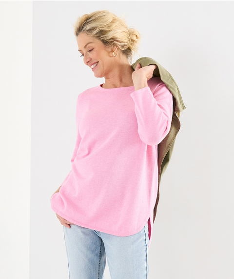 3/4 SLV COTTON TOUCH CURVED HEM PULLOVER