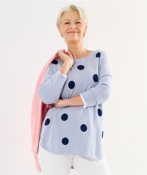3/4 SLV SPOT COTTON TOUCH CURVED HEM PULLOVER