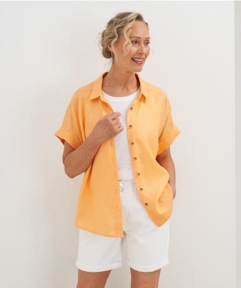 Ext Slv Button Through Linen Shirt