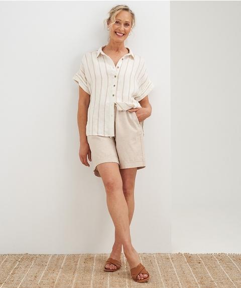 Ext Slv Button Through Print  Linen Shirt