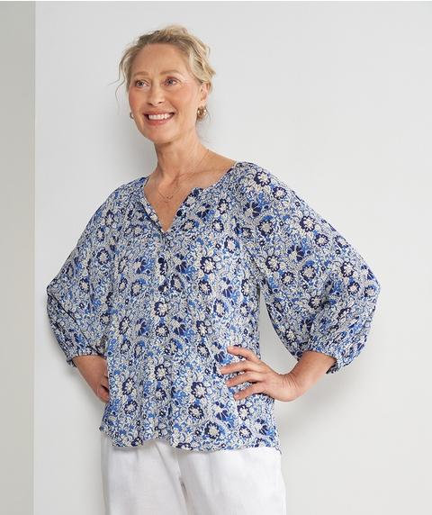 3/4 Slv Half Placket Print Crinkle Shirt
