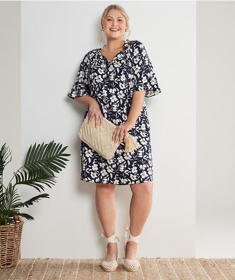 K/L Elb Rufffle Slv Print Linen Dress