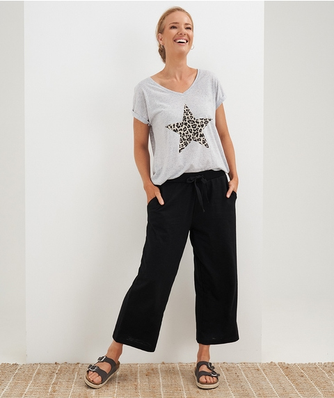 CROP AND WIDE JERSEY JOGGER