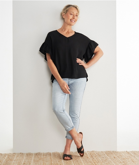 EXT DOUBLE FRILL SLV WOVEN FRONT TOP