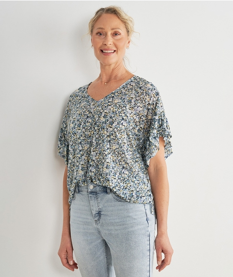 EXT DOUBLE FRILL SLV PRINT TOP