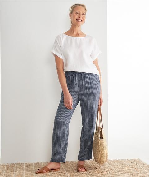 F/L Stripe Linen Pant