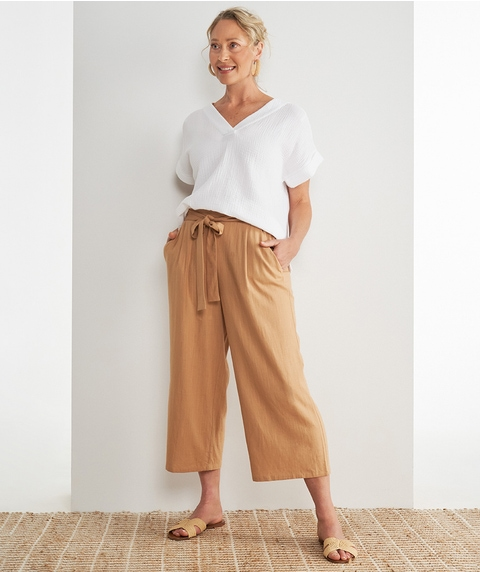 7/8 Wide Leg Linen Pant with Tie