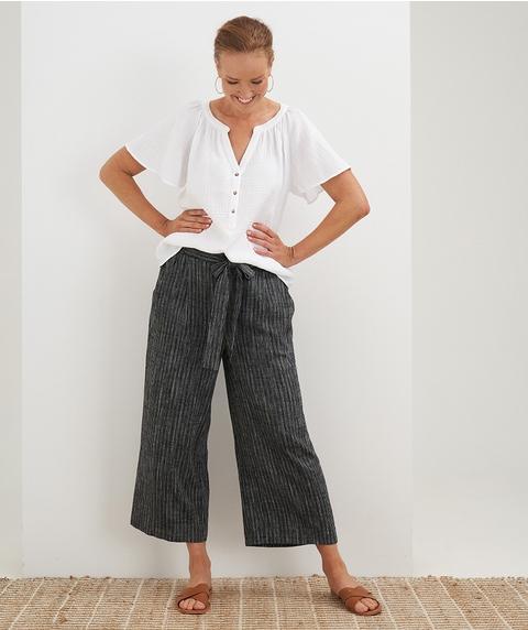 7/8 Wide Leg Stripe Linen Pant with Tie