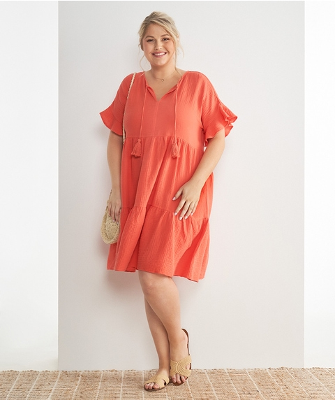 K/L Short Slv Tiered Cheesecloth Dress