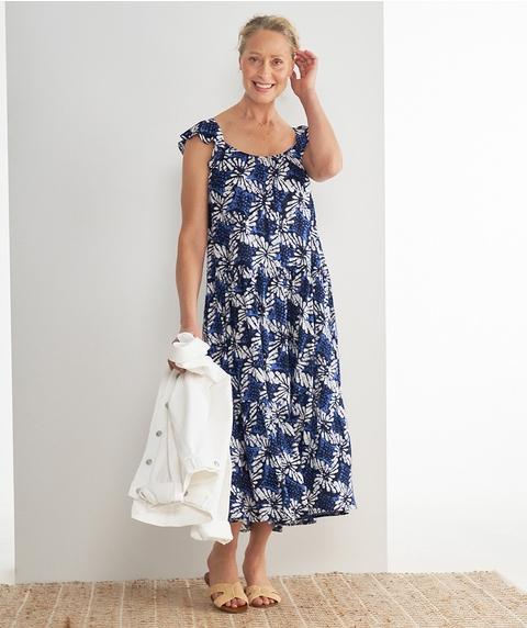 Midi S/Less Tiered Mono Print Crinkle Dress