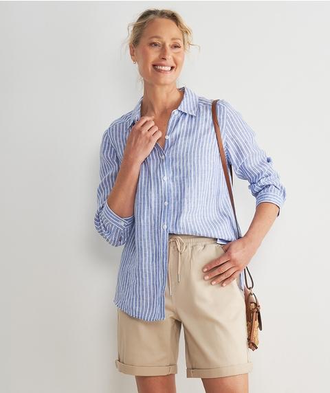 Elb Roll Slv Stripe Utility Linen Shirt