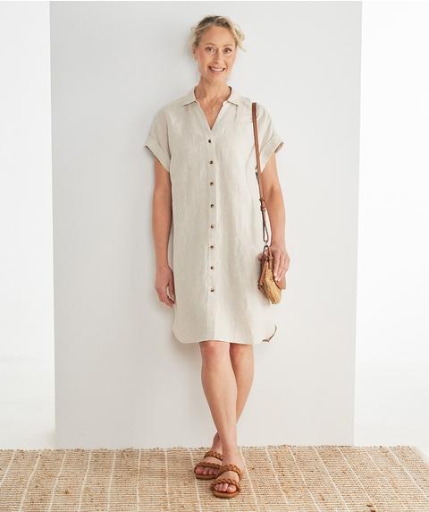 K/L Ext Slv Button Through Linen  Dress