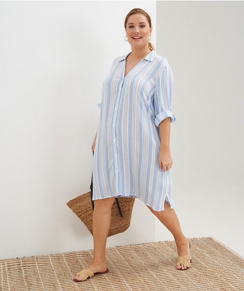 Elb Roll Slv Coast Shirt Stripe Dress