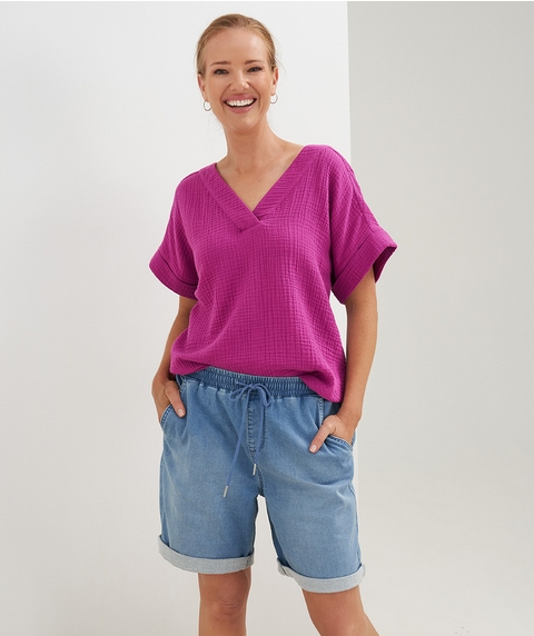 Ext Slv Notch Neck Cheesecloth Shirt