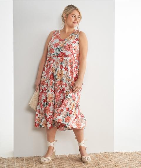 Midi S/L Tierred Floral Linen Dress