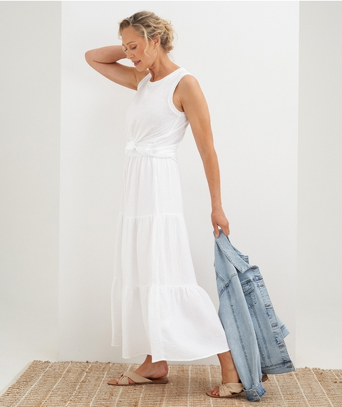 Maxi Tiered Cheesecloth Skirt