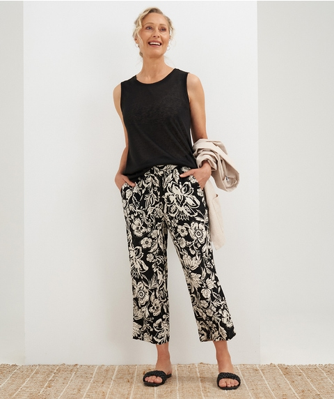 7/8 Printed Pull On Linen Pant