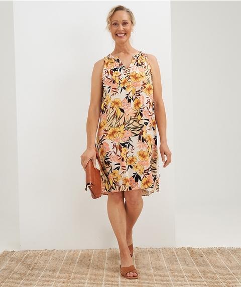 K/L S/Less  Tropical Print Linen Dress