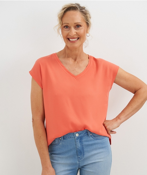 EXT SLV V NECK WOVEN FRONT TOP